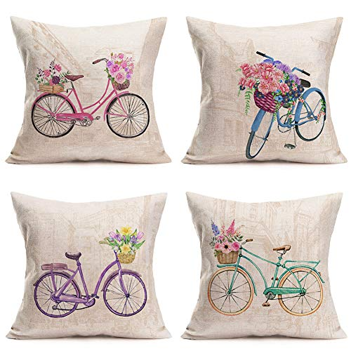 "Asminifor Home Sofa Decor Pillow Covers Spring Happy Valentine Day Rustic Bicycle Bike Floral Flowers Blooming Cotton Linen Pillow Cushion Cover Home Sofa Couch Pillowcase 18""x18"",4Pack (HS-Bicycle)"