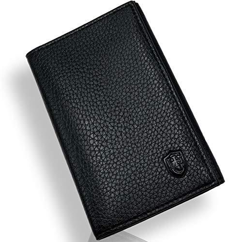 Lutin Porte Papier Voiture en Cuir - Organiseur- étui Carte Grise, permis, Carte d'identité, Cartes, très Complet, Cuir Souple pour Homme ou Femme (Noir1)