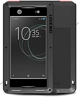 LOVE MEI Waterproof Aluminum Case for Sony Xperia XA1 Ultra (6 inch), with Tempered Glass Screen Cover Protector BlackTwo-Years Warranty