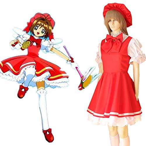 Card Captor Sakura Kinomoto SAKURA Cosplay Costume Bataille Costume Femme De Ménage Cosplay Vêtements Robe + 6 * Bows + Chapeaux + Gants L
