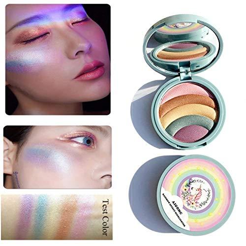 Rainbow stroboscope surligneur Licorne fard à paupières maquillage poudre cosmétique avec mini sac portable 1pc