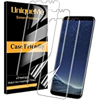 UniqueMe [3 Pack] Protector de Pantalla para Samsung Galaxy S8, [Instalación sin Agua] [Huella Digital Disponible] HD Clear TPU Case Friendly Película Flexible de Cobertura Completa