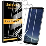 [3 Pack] UniqueMe Protector de Pantalla para Samsung Galaxy S8, [Fácil instalación] [Huella Digital Disponible] HD Clear TPU Case Friendly Película Flexible de Cobertura Completa