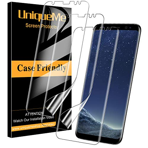 UniqueMe [3 Pack] Protector de Pantalla para Samsung Galaxy S8, [Fácil instalación] [Huella Digital Disponible] HD Clear TPU Case Friendly Película Flexible de Cobertura Completa