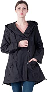 5fa5cd3d725 Infron IN FRONT Women Plus Size Elegant Hooded Single-Breasted Anorak Coat  Spring Fall