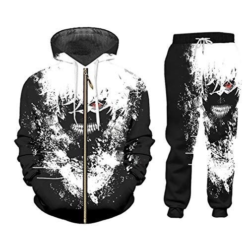 Black White 2 Piece Set Outfits Winter Hoodies Pants Suit Anime Tracksuit Men ZHPA06214 5XL