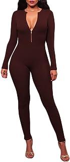 Pandapang Womens Solid Color Backless Racerback Bodysuit Skinny Jumpsuit