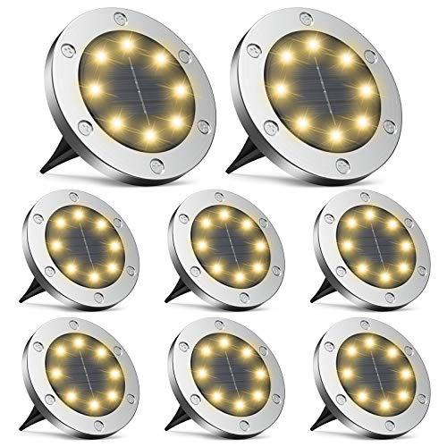Solarleuchten Garten, infray Solarleuchten für außen, Solar Bodenleuchten außen mit 8 LED, Solarlampen für außen IP65 wasserdicht, Solar Wegeleuchten LED Solarlicht Garten warmweiß 8er