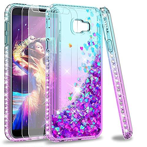 LeYi Custodia Galaxy J4 Plus Glitter Cover con Vetro Temperato [2 Pack],Brillantini Diamond Silicone Sabbie Mobili Bumper Case per Custodie Samsung J4 Plus / J4+ 2018 ZX Turquoise Purple Gradient