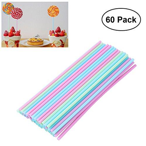 OUNONA 60 Cake Pop Sticks 15 cm,Pastellfarben,Kitchencraft,Kunststoff Stiele für Kuchen