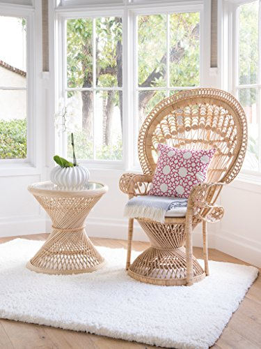 KOUBOO Pecock Grand Peacock Chair in Rattan with Seat Cushion, Natural Color, Large