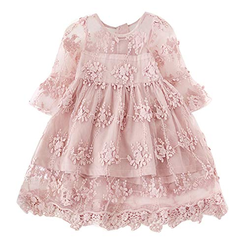 NNJXD Flower Girls Dress Girls Lace Princess Party Pageant Tulle Summer Vintage Dress 3-4 Years 02Pink