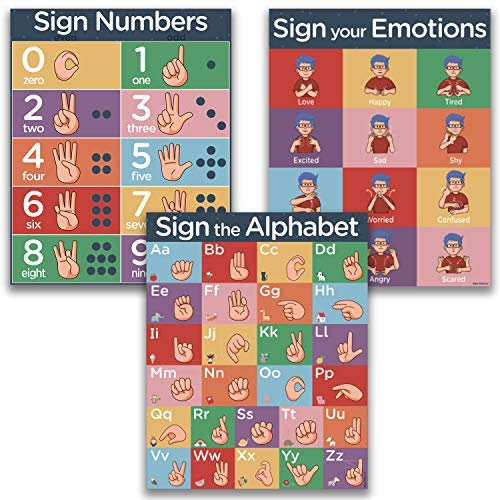 ASL Kids Sign Language Posters - 3 16x20' UV Gloss Laminate Charts