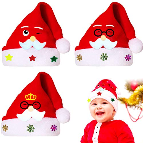 WELLXUNK 3Pcs Cappello Babbo Natale, Cappelli Natalizi, Cappellino Festa di Natale, Cappello da Pupazzo di Neve, Babbo Natale Cappelli Ispessito Caldo Morbido Natale Ornamenti (C)