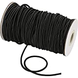 Elastic Cord Beading Crafting Stretch String Beading Thread Braided Elastic Band Braided Round Elastic Rope for Sewing, Bracelets, Necklace, Jewelry Making and Crafts (3 mm, 50 Yards, Black)