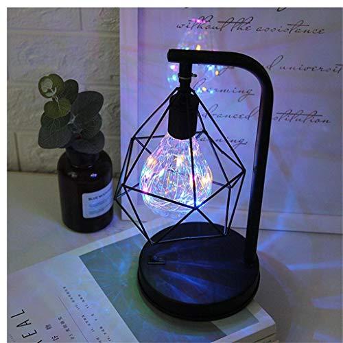 CRITY Tischlampe, Metall LED Nachtlicht Retro Geometrie Laterne Schlafzimmer Nachttischlampe Desktop Augenlampe Zuhause Dekoration Beleuchtung (Mehrfarbig)