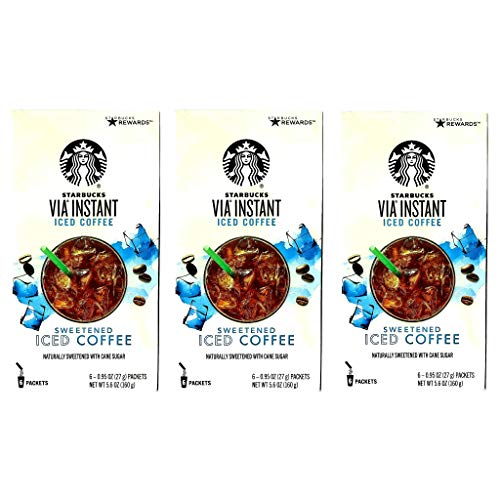 Starbucks Via Instant Coffee Sweetened Iced Coffee - Pack of 3 Boxes - 18 Packets Total - 6 Packets Per Box - Bulk Starbucks Instant Coffee