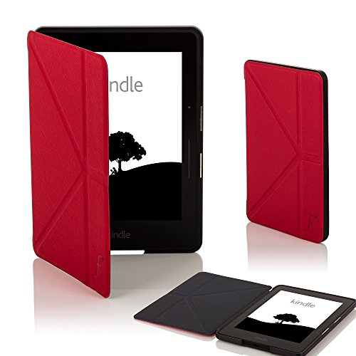 Forefront Cases Kindle Voyage Origami Funda Carcasa Caso Smart Case Cover - Ultra Delgado Ligera y Protección Completa del Dispositivo con Función Auto Sueño/Estela (Rojo)