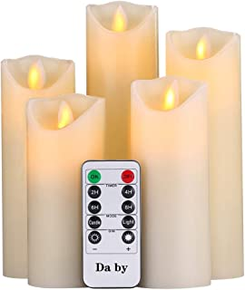"""Da by Flameless Candle 5"""" 6"""" 7"""" 8"""" 9"""" Set of 5 Realistic Dancing LED Flickering Wick for Parties,Home,Public Elegant Event..."""