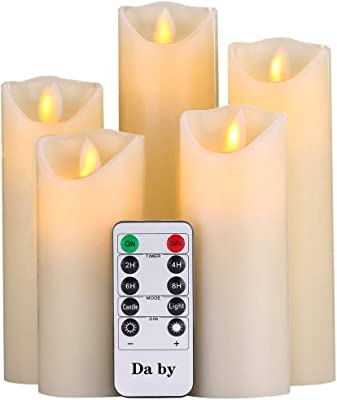 """Da by Flameless Candles Led Candles Pack of 5 (H 4"""" 5"""" 6"""" 7"""" 8"""" x D 2.2"""") Ivory Real Wax Battery Candles with Remote Candles.[Energy Efficiency Class A]"""