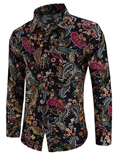 Men's Paisley Floral Print Long Sleeve Button Up Dress Shirts Tops, CS 105, US Medium(Slim Fit) = Tag 2XL