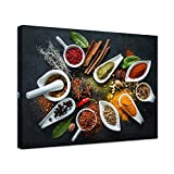 LevvArts Modern Kitchen Picture Wall Art Colorful Spice on Spoons Painting Canvas Prints Vintage Wall Decor for Dining Room Restaurant Bar Stretched and Framed Ready to Hang