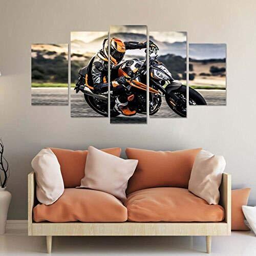Yywife Leinwanddrucke-Breite:150Cm,Höhe:80Cm Moderne Dekoration Leinwand Poster 5 Stück Wandkunst Gerahmtes KTM 790 Duke Bike Motorrad 5 Teilige Wandbilder Bild Schlafzimmer