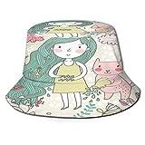 PUIO Sombrero de Pesca,Lindo Signo del Zodiaco Acuario ilustración Vectorial,Senderismo para Hombres y Mujeres al Aire Libre Sombrero de Cubo Sombrero para el Sol
