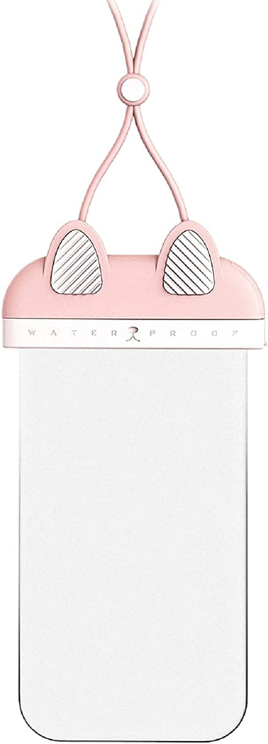 Cute Waterproof Phone Pouch - Clear Waterproof Bag,Waterproof Case,Foldable Anti-Sinking IP68 Floating Air Cell Phone Dry Bags with Hanging Strap for Swimming (Pink)