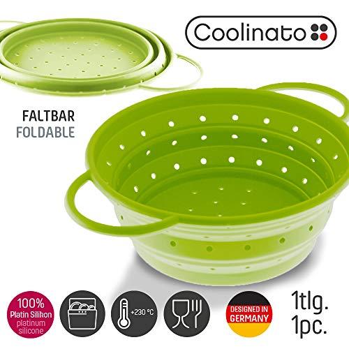 Coolinato Sieb aus Silikon, faltbar spülmaschinenfest, Nudelsieb Abtropfsieb Dampfgar Einsatz, Küchensieb, 24 cm Grün