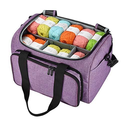 JOZEA Aufbewahrungstasche für Wolle, Stricknadeln und häkelnadeln, besonders ultimative Organisation leichtes Garn Tasche für Reisen und unterwegs (kein Zubehör im Lieferumfang enthalten) lila
