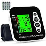 Blood Pressure Monitor, OUDEKAY Digital Automatic Upper Arm Blood Pressure Monitor and Heart Rate Pulse with Wide-Range Cuff for Home Use, 2 x 99 Memories, Large Three-Color Backlight Display