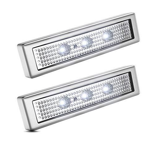 B.K.Licht Lampade LED adesive a batterie, set di 2, accensione a pressione, Luci da parete o sottopensili, LED integrati, luce fredda, batterie AAA non incluse, per armadio, vetrinetta, ripostiglio