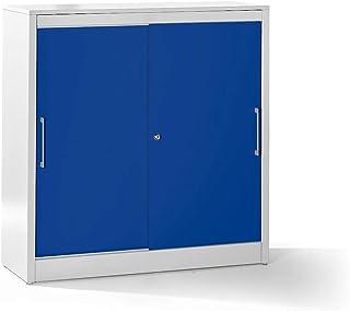 Mauser Armoire à portes coulissantes - armoire basse, 2 tablettes - h x l x p 1225 x 1200 x 420 mm, gris clair / bleu outr...