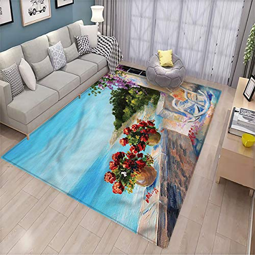 Seascape Non-Slip Floor mat Balcony Sea Rocking Chair Kitchen Home Floor mat