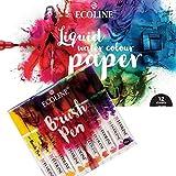 Ecoline Juego de 10 rotuladores de colores con papel de acuarela líquida y 12 páginas