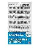 Chartpak seco transferencia Letras y números, fuente Helvetica Font, 1521per Pack (00100), color negro 18PT