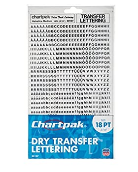 Chartpak Dry Transfer Letters and Numbers 18PT Helvetica Font 907 per Pack  00107