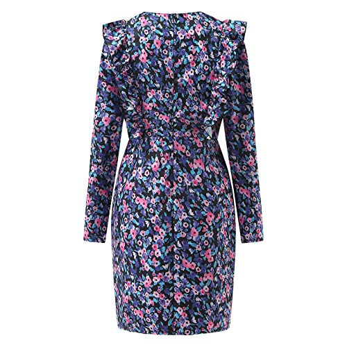 SIOPEW Damen Kleider Freizeitdruck Retro Blumen Rundhalsausschnitt Langarm Kleid Paket HüFtkleid Business-Kleid