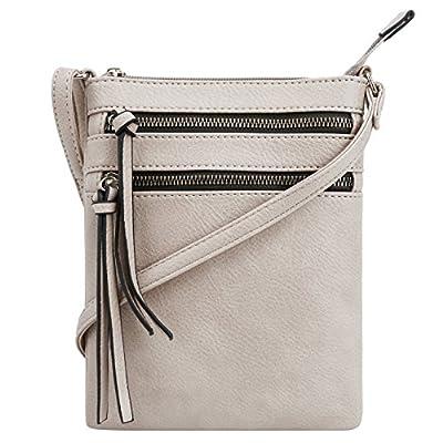 DELUXITY | Crossbody Purse Bag | Functional Multi Pocket Double Zipper Purse | Adjustable Strap | Medium Size Purse