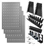 Metallmobell hpth-001 panel de herramientas de 160*60*2cm, kit de 4 paneles perforados metalicos 40x60x2cm + kit de ordenar herramientas 22piezas (pegboard). Organizador portaherramientas multiusos