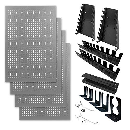 METALLMOBELL HPTH-001 Panel de Herramientas de 160*60*2Cm, Kit de 4 Paneles Perforados Metalicos 40x60x2Cm + Kit de Ordenar Herramientas 22Piezas (Pegboard) . Organizador portaherramientas multiusos