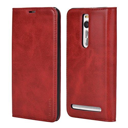 Mulbess Funda ASUS ZenFone 2 ZE551ml [Libro Caso Cubierta] Slim de Billetera Cuero Carcasa para ASUS ZenFone 2 ZE551ml Case, Vino Rojo