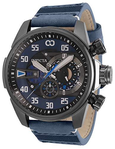 Invicta Corduba Reloj de cuarzo de acero inoxidable con correa de nailon, azul oscuro, 24 (Modelo: 34977)