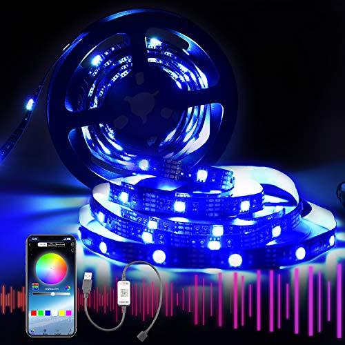 SYTUAM LED Strip Bluetooth 2m USB, 5050 LED Streifen für TV, APP-Steuerung 16 Millionen Farben 27 Modi, einstellbare Helligkeitsgeschwindigkeit für TV-PC-Monitor im Spielzimmer