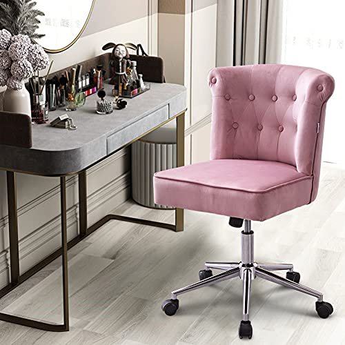 BTGGG Velvet Office Chair Modern Swivel Desk Chair Height Adjustable Armless Task Computer Chair Leisure Chair with Upholstered Seat for Home Office, Pink