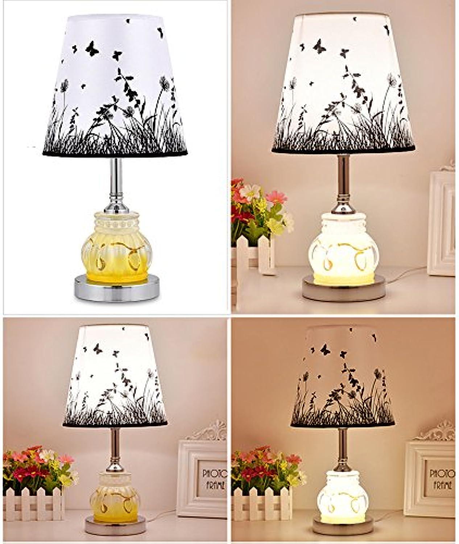 Tischlampe QFFL Glas kreative Schlafzimmer Bedside LED Nachtlicht einfache Wohnzimmer dekorative Lichter Schreibtisch Lesen Licht (39  20cm) (Farbe   A)