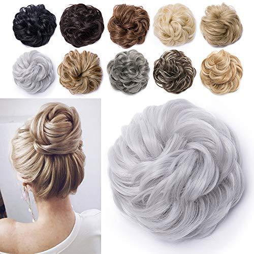 TESS Haarteil Dutt Silbergrau Haargummi mit Haaren Gewellt Dicke Haarknoten Hochsteckfrisuren günstig Haarverlängerung Extensions für Damen 40g