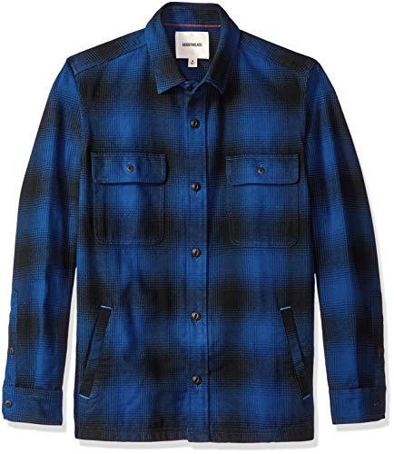Amazon Brand - Goodthreads Men's Heavyweight Flannel Shirt Jacket, Blue Buffalo Plaid, Large