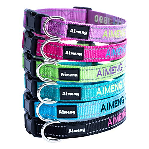 Personalized Dog Collar Adjustable Dog Collar Fadeproof Custom Embroidered with Pet Name and Phone Number, 11 Thread…